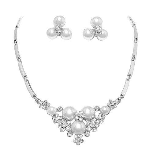 Just The Right Touch White Pearl Bridal Necklace Set With Crystal Detail Bling Prom Earring Set AC1