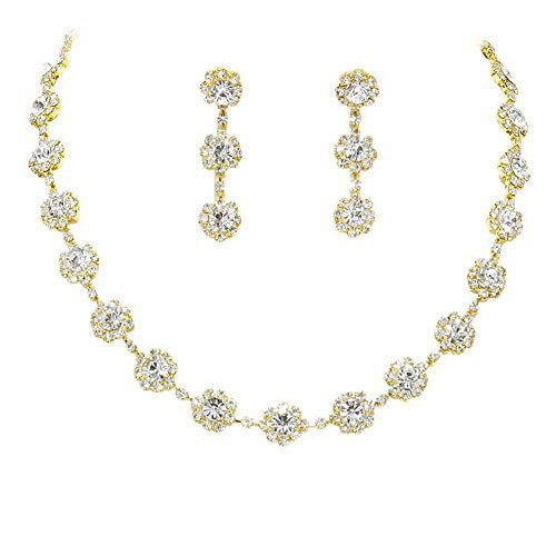 Clear Floral Crystal Rhinestone Collar Necklace Necklace Set Bridal Bridesmaid Prom Gold Tone