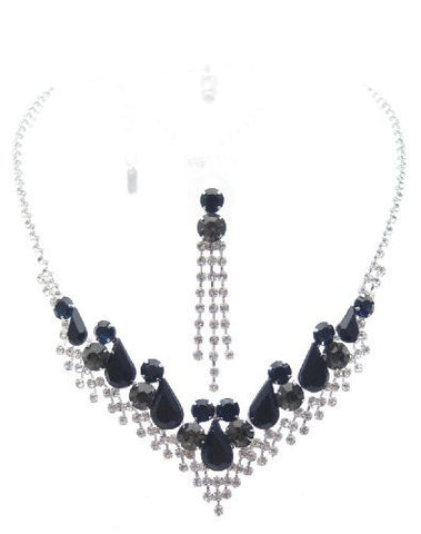 Bling Black Crystal Silver Tone Bridesmaid Bridal Evening Necklace Earring