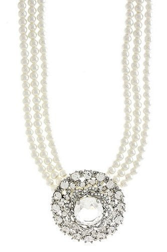 Bridal Jewelry Necklace Austrian Crystal Rhinestone W White Pearl