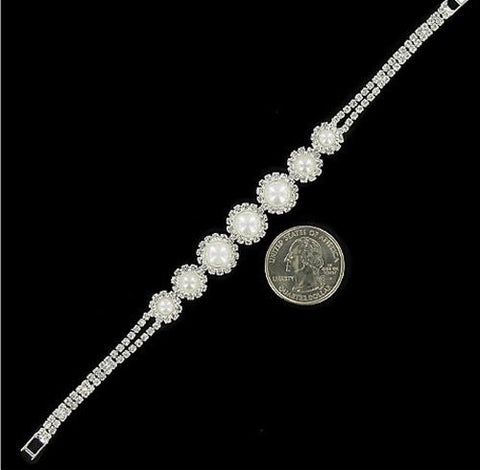 7 Circle White Pearl & Rhinestone Bridal Bracelet On silver Tone [Jewelry]