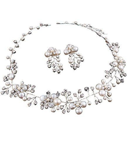 Beautiful Handmade Freshwater White Pearl Bridal Necklace Set W Vine Flowers