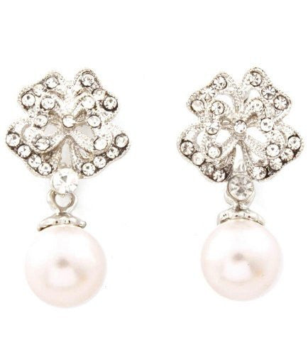 Blossom Drop Cream Faux Pearl Drop Bridal Earrings on Silver Tone
