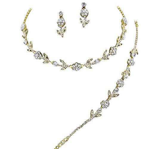 Elegant 3 Piece Gold Crystal Bridesmaid Bridal Necklace Earring Bracelet Set Wedding Bling Gold M1