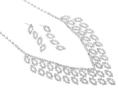 Sweet & Lovely Rhinestone Bridal Necklace Set on Silver Tone