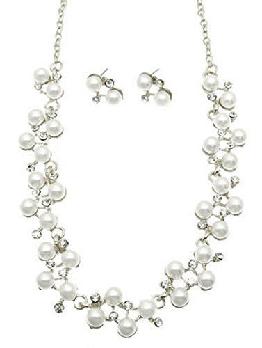 Lovely Bridal White Pearl Austrian crystal Necklace Earring Set Silver Tone CC2