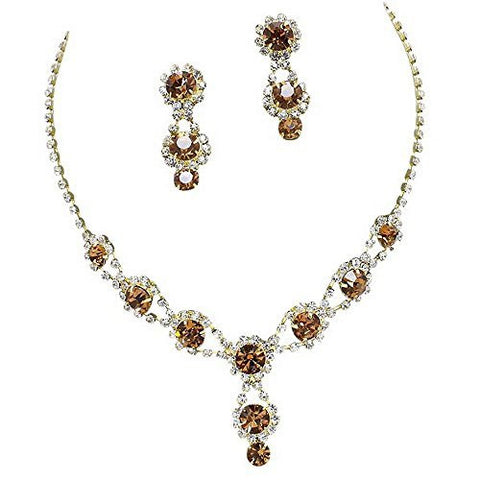 Stunning Y Drop Evening Bronze Brown Amber Crystal Rhinestone Bridal Necklace Earring Gold tone Bling B1