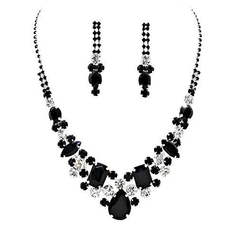 Black Statement Rhinestone Necklace Set Bridal Bridesmaid Prom SilverTone