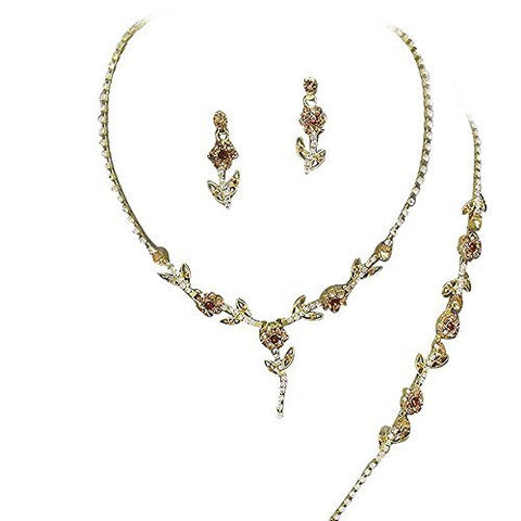 Elegant 3 Piece Y Drop Bronze Crystal Bridesmaid Bridal Necklace Earring Bracelet Set Gold Tone O3