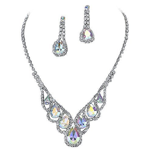 Iridescent AB Elegant Droplets Rhinestone Prom Bridesmaid Evening Necklace Set silver Tone T4
