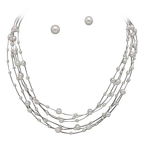 Classic Illusion Pearl Bridal Bridesmaid Necklace Earring Set- White