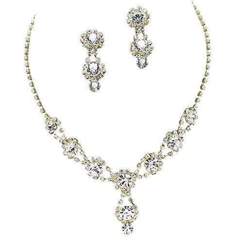 Stunning Y Drop Evening Party Clear Crystal Bridal Bridesmaid Necklace Earring Gold Tone C2