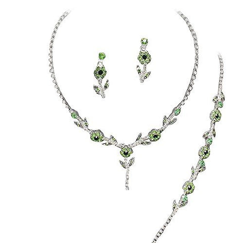 Elegant Green Lime 3 Piece Y Drop Crystal Bridesmaid Bridal Necklace Earring Bracelet Set Bling N1
