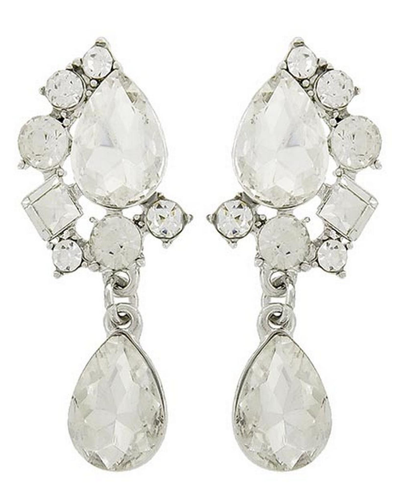 "Clear Crystal Rhinestone Teardrop Earrings Teardrop Stone Surrounded By Round and Square Stones 1"" Silver Tone"