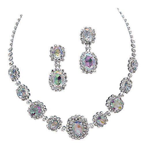 Iridescent AB Regal Rhinestone Crystal Statement Bridal Bridesmaid Necklace Earring Set Silver Tone G4