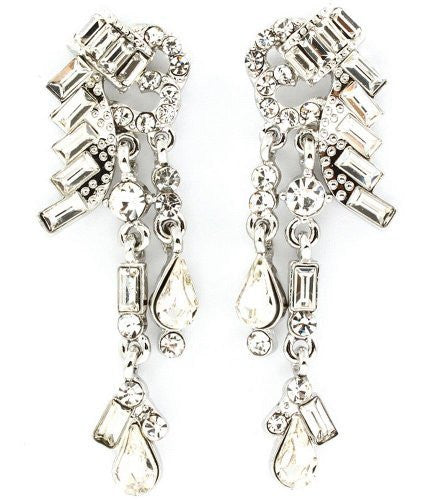 Dangeling Crystal Bridal Earrings on Silver Tone