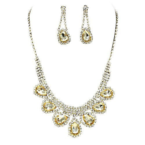 Princess Champagne Gold Rhinestone Prom Bridesmaid Evening Necklace Set Gold Tone S7