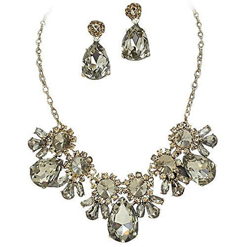 On Trend Light Topaz Rhinestone Faceted Statement Necklace Set Bridesmaid Party Gold Tone