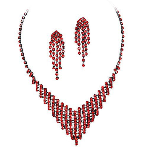 Pretty Red Rhinestone Flattering V Style Necklace Set On Grey Metal Prom Bridesmaid Evening V5