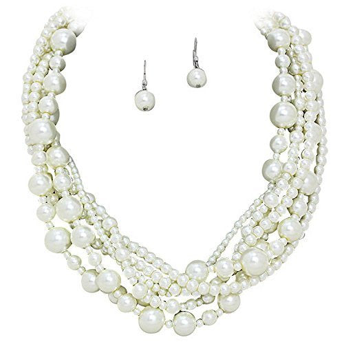 Romantic 6 Strand Cream Glass Pearl Necklace with Matching Drop Earrings Bridal Bridesmaid Wedding Y7