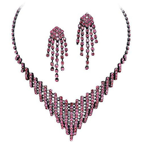 Pretty Pink Rhinestone Flattering V Style Necklace Set On Grey Metal Prom Bridesmaid Evening V2