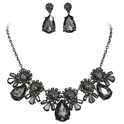 On Trend Onyx Black Rhinestone Faceted Statement Necklace Set Bridesmaid Party Black Tone Metal