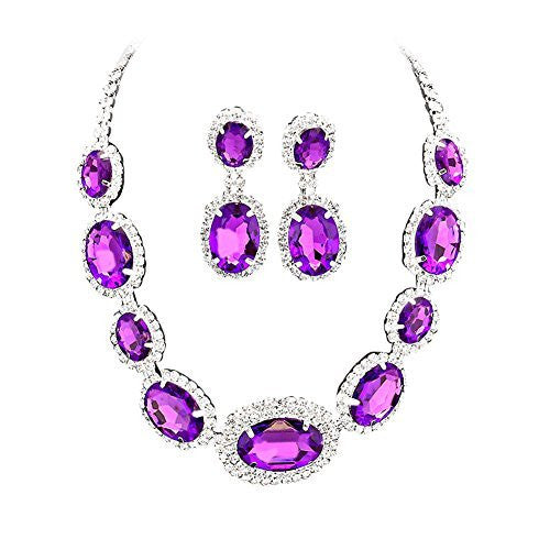 Large Statement Brilliant Purple Oval Stone Bridal Bridesmaid Necklace Earring Set Silver Tone DN04