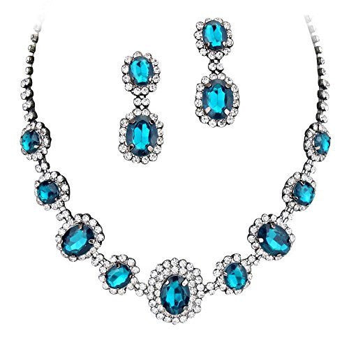 Peacock Blue Regal Rhinestone Crystal Statement Bridal Bridesmaid Necklace Set Black Tone F2