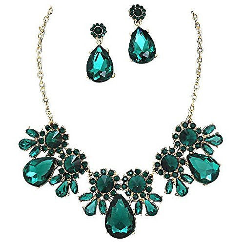 On Trend Emerald Green Rhinestone Faceted Statement Necklace Set Bridesmaid Party Gold Tone