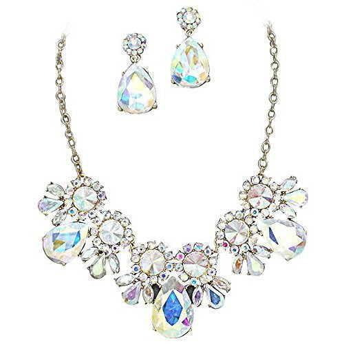 On Trend Light Pastel Colors Iridescent Crystal Rhinestone Faceted Statement Necklace Set Gold Tone