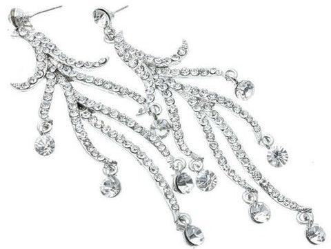 4 Inch Waterfall Cascade Crystal Bridal Earrings on Silver Tone