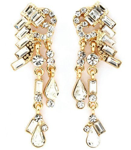 Dangeling Crystal Bridal Earrings on Gold Tone