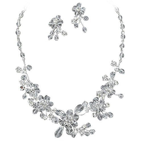 Designer Look Handmade Bridal Crystal Necklace Gift Earring Set Silver Tone Bling