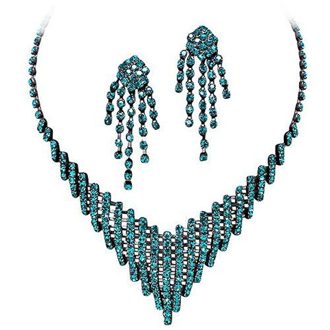 Peacock Blue Turquoise Rhinestone Flattering V Style Necklace on Matching Metal Prom Bridesmaid V3