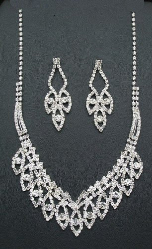 Dramatic Crystal Bling Princess Silver Tone Bridesmaid Bridal Necklace Earring