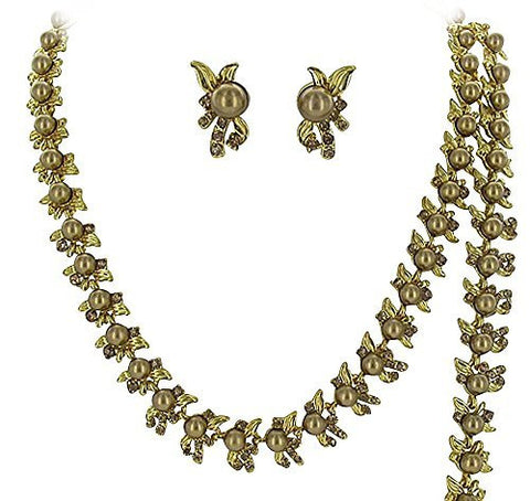 Designer Inspired 3 Piece Bridal Bronze Pearl Necklace, Bracelet and Earring Set CC3