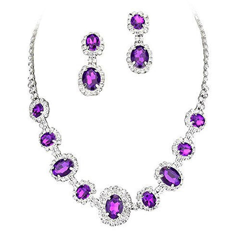 Purple Regal Rhinestone Crystal Statement Bridal Bridesmaid Necklace Earring Set Silver Tone F5