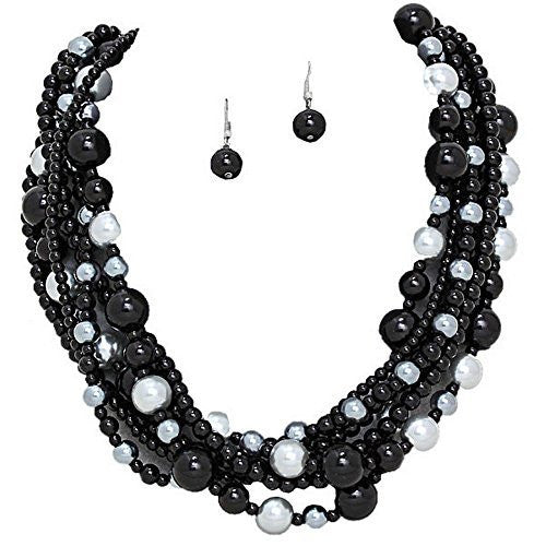 Romantic 6 Strand Black/silver Glass Pearl Necklace w/ Matching Drop Earrings Bridal Bridesmaid X7