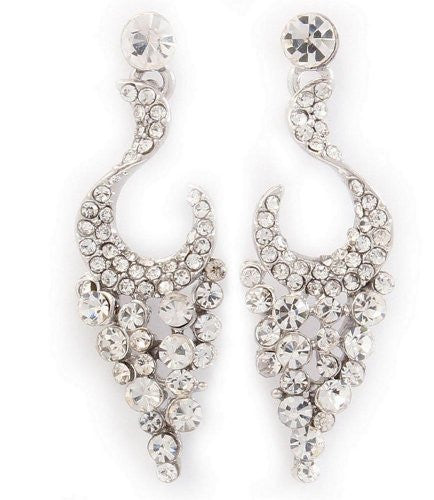 Cascade Crystal Bridal Earrings on Silver Tone