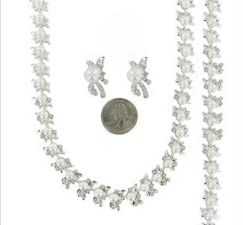 3 Piece White Pearl 3 Bridal Necklace Bracelet Earring Set Silver Tone W Crystal CC4