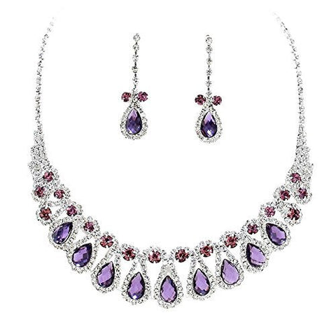 Lavender & Eggplant Purple Rhinestone Teardrop Loop Collar Necklace Set Bridal Bridesmaid prom DP5