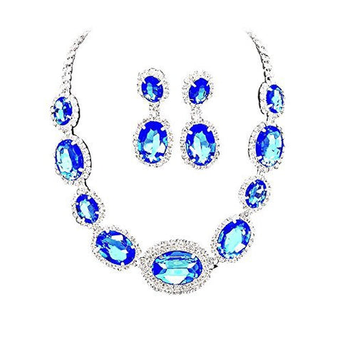 Large Statement Royal Blue Sapphire Oval Stone Bridal Bridesmaid Necklace Earring Set Silver Tone DN01