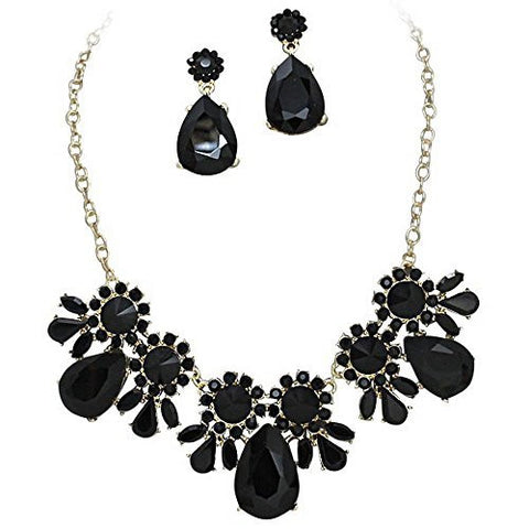 On Trend Onyx Black Rhinestone Faceted Statement Necklace Set Bridesmaid Party Gold Tone