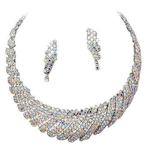 Retro Vintage Sparkly AB Iridescent Rhinestone Bridal Necklace and Earring Set