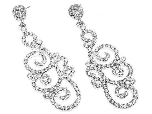 Scroll Work Design Crystal Bridal Wedding Earrings- Designer Inspired On Silver Tone