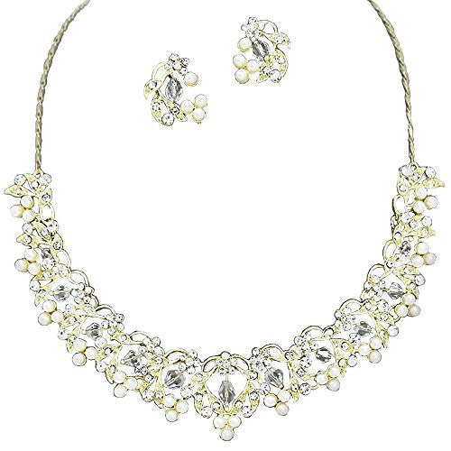 Lovely Bridal Cream Ivory Pearl Austrian crystal Necklace Earring Set Gold Tone CC1