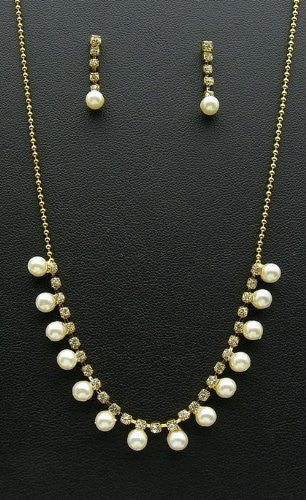 Petite Vintage Cream Pearl Bridal Bride Necklace Earring Gold Tone