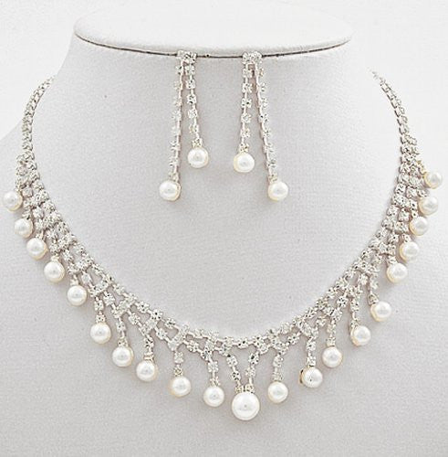White Pearl & Rhinestone Princess Bridal Necklace Earring Set Silver Tone cn5