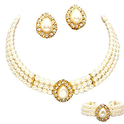 Entire Look Cream Pearl Bridal Necklace Set CLIP ON Earring, Bracelet Gold tone CG4