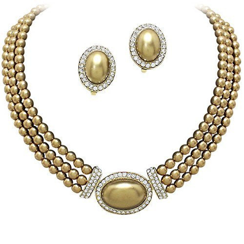 Elegant 3 Strand Bronze Pearl Tone Drop Bridal Necklace CLIP ON Earring Set W1
